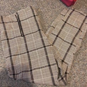Plaid and houndstooth ankle pants